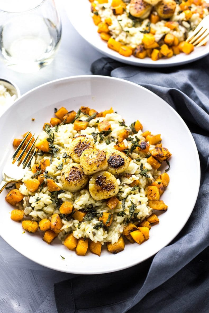 Seared Scallops with Butternut Squash Risotto