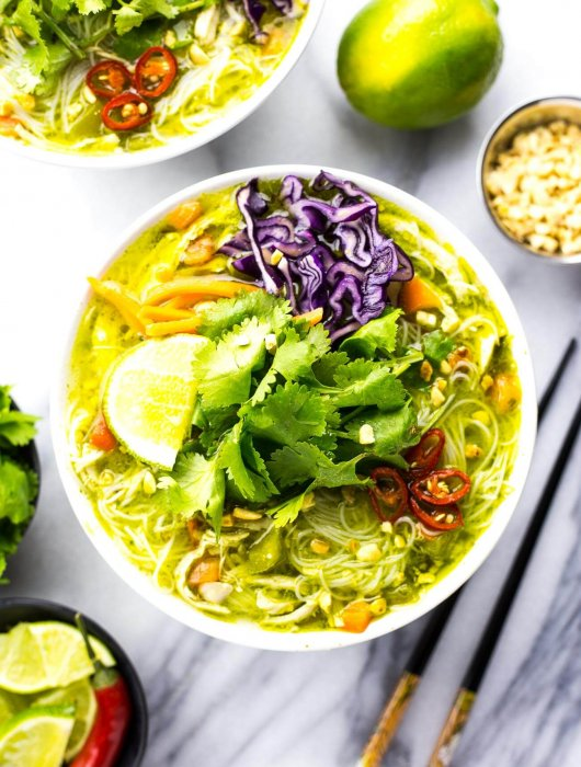 Thai Green Curry Chicken Vermicelli Bowls