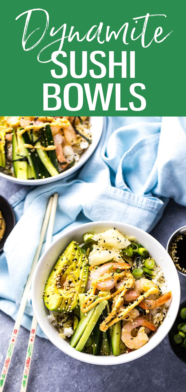 These Shrimp Dynamite Sushi Bowls with pickled ginger are a healthy 20-minute dinner idea that's a play on your favourite sushi roll. #dynamiteshrimp #sushibowls