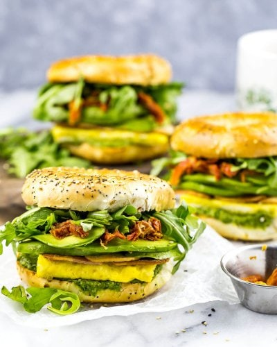 Pesto Bagel Breakfast Sandwiches
