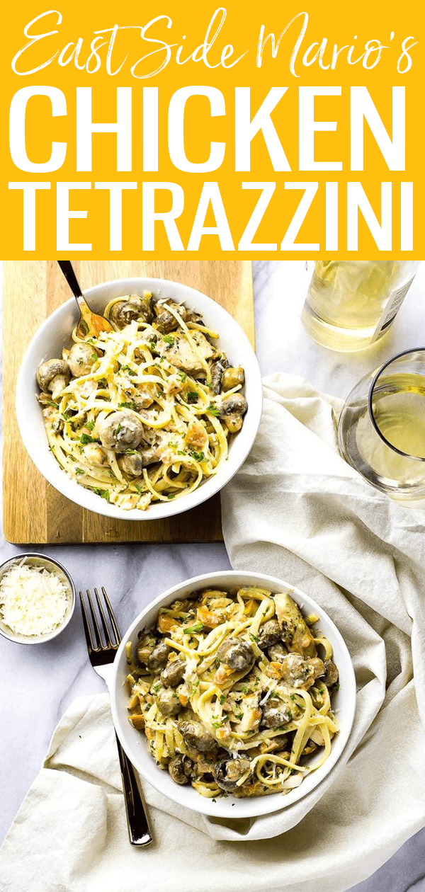 ThisLinguine Chicken Tetrazzini is a delicious Eastside Mario's copycat filled with roasted garlic mushrooms, bruschetta and grilled chicken! #chickentetrazzini #chickenlinguine