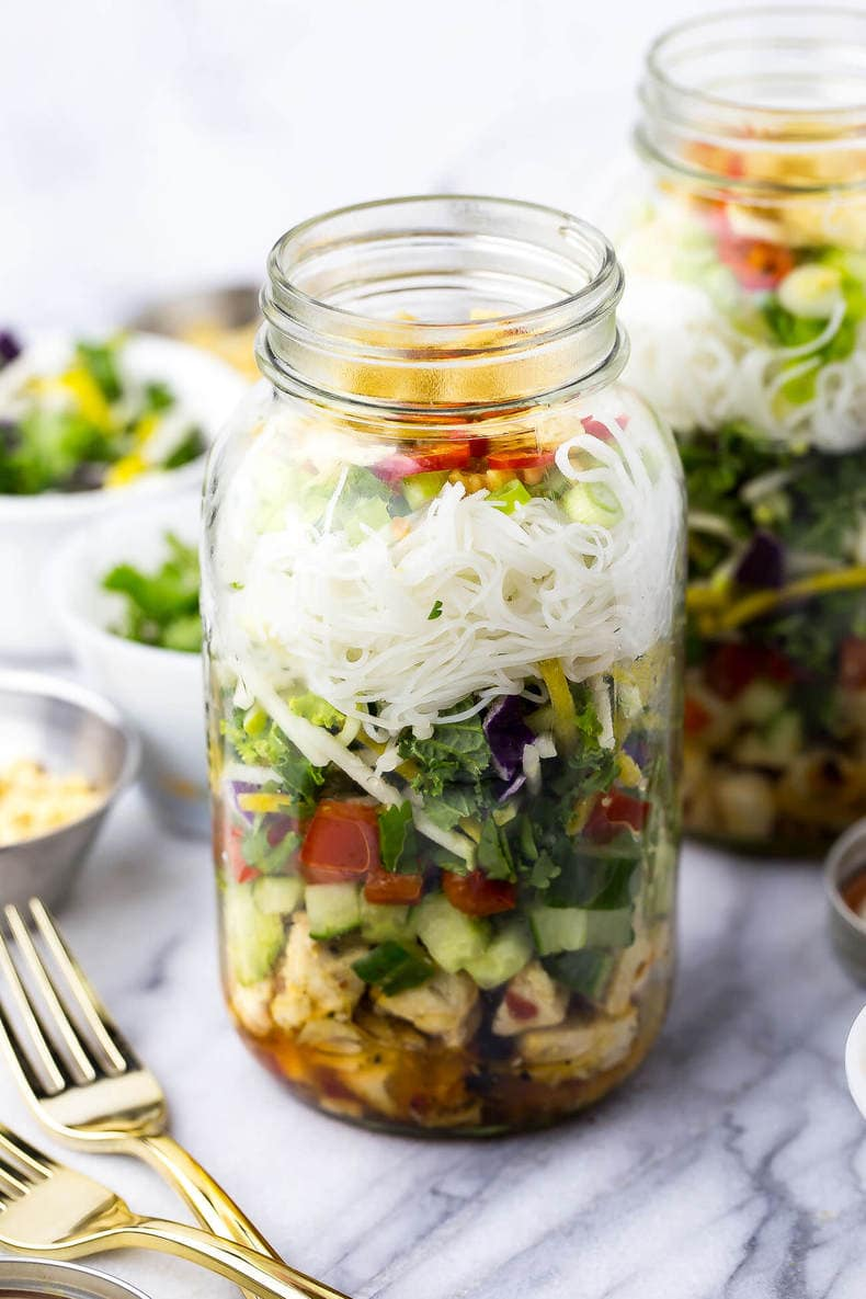 Sweet Chili Chicken Salad Jars | The Girl on Bloor