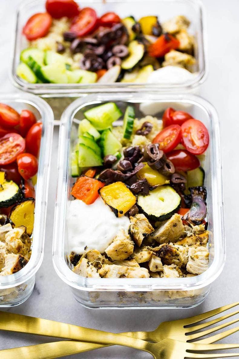 Meal Prep Chicken Souvlaki Bowls