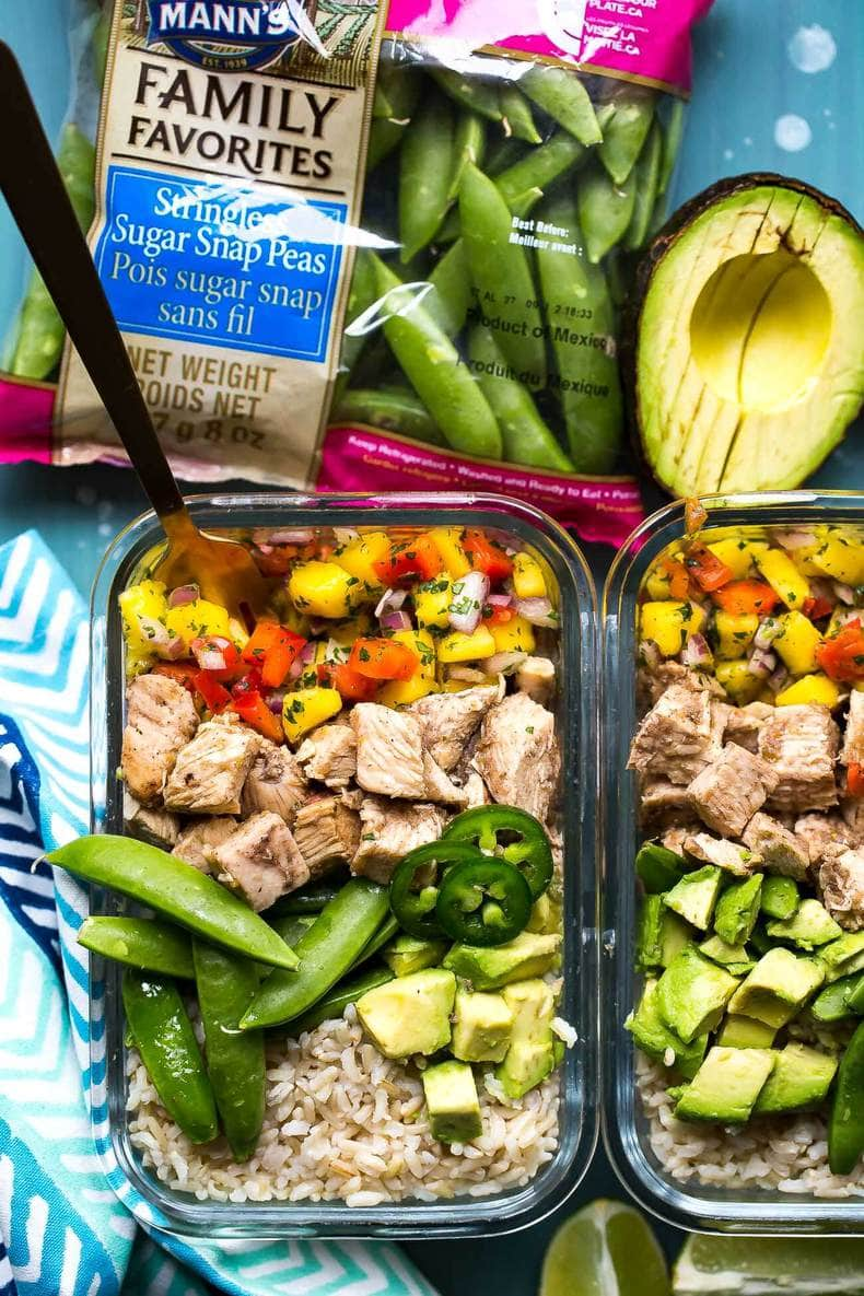 These Meal Prep Jerk Chicken Rice Bowls are the most delicious Caribbean-inspired lunch idea with mango salsa, avocado, jalapenos and brown rice!