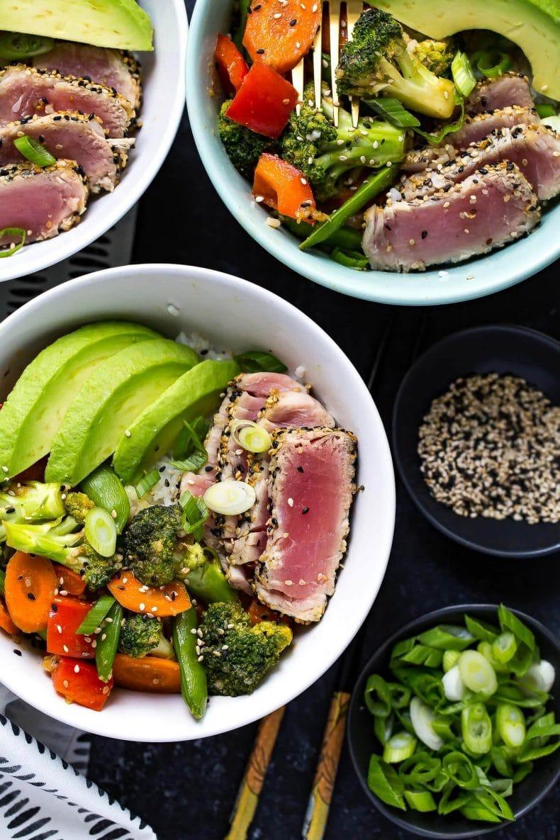 Miso Sesame Tuna Rice Bowls