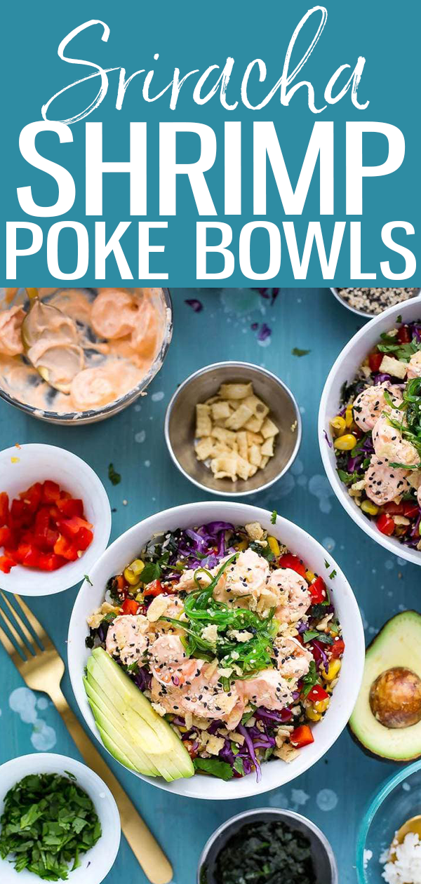 These Creamy Sriracha Shrimp Poke Bowls are a delicious twist on tuna poke with seaweed salad, lemongrass corn, avocado and wontons! #srirachashrimp #pokebowl