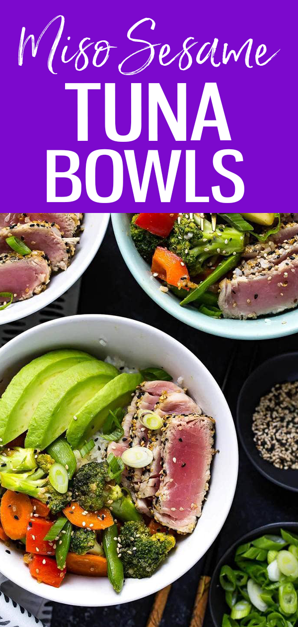 These Miso Sesame Tuna Rice Bowls are filled with seared ahi tuna, stir fry veggies in a savoury miso sauce, jasmine rice and sliced avocado! #sesametuna #ricebowls