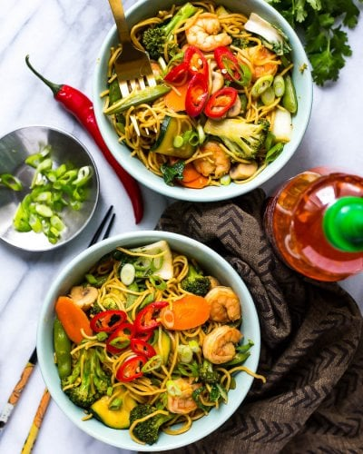 Shrimp Yakisoba Noodle Bowls