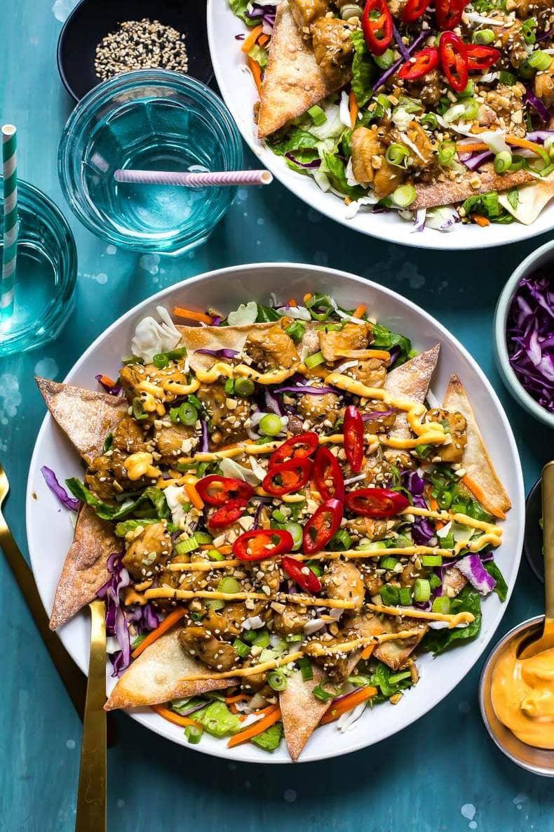 Asian-Inspired Chicken Wonton Nacho Salad