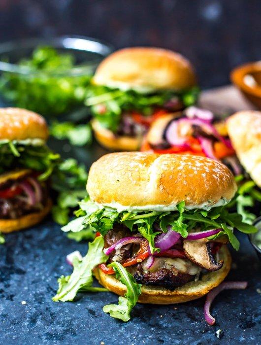 Mediterranean Portobello Beef Burgers