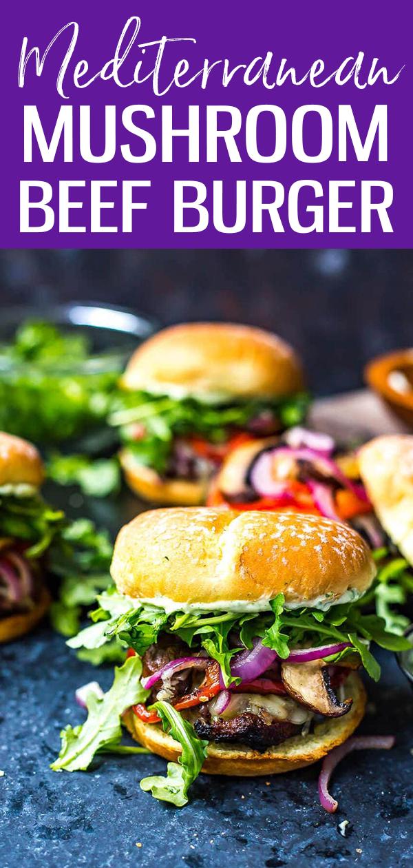 Mediterranean Portobello Beef Burgers are a healthy BBQ recipe topped with garlic herb cheese, roasted red peppers, arugula & basil mayo. #portobellomushroom #mediterraneanburger