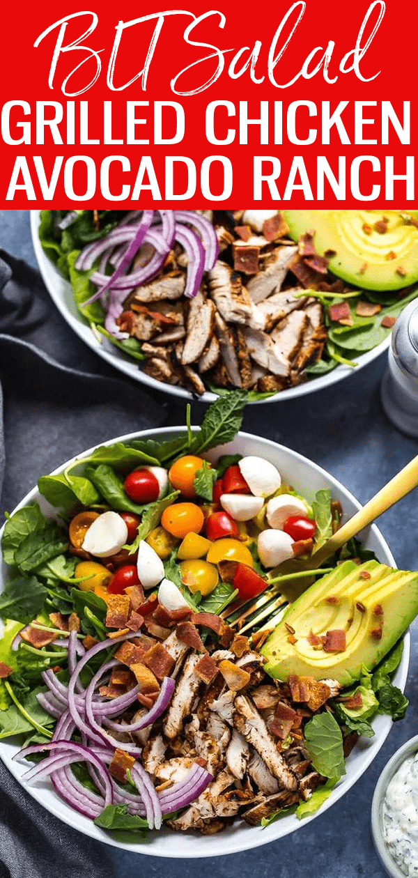 This Grilled Chicken, Avocado & Ranch BLT Salad is made healthier thanks to turkey bacon and a mayo-free ranch dressing! #bltsalad #chickenavocado