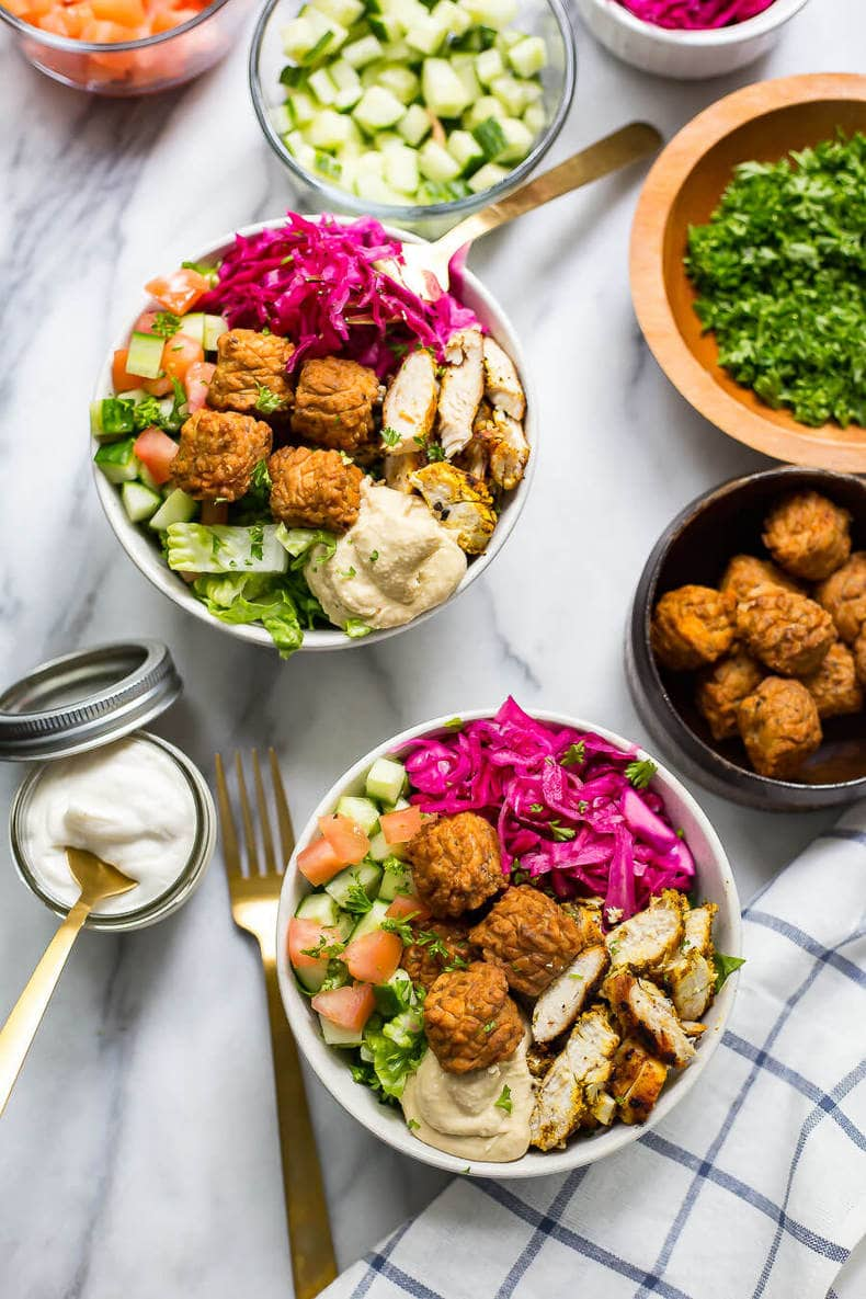 Fun & Easy Chicken Falafel Buddha Bowls