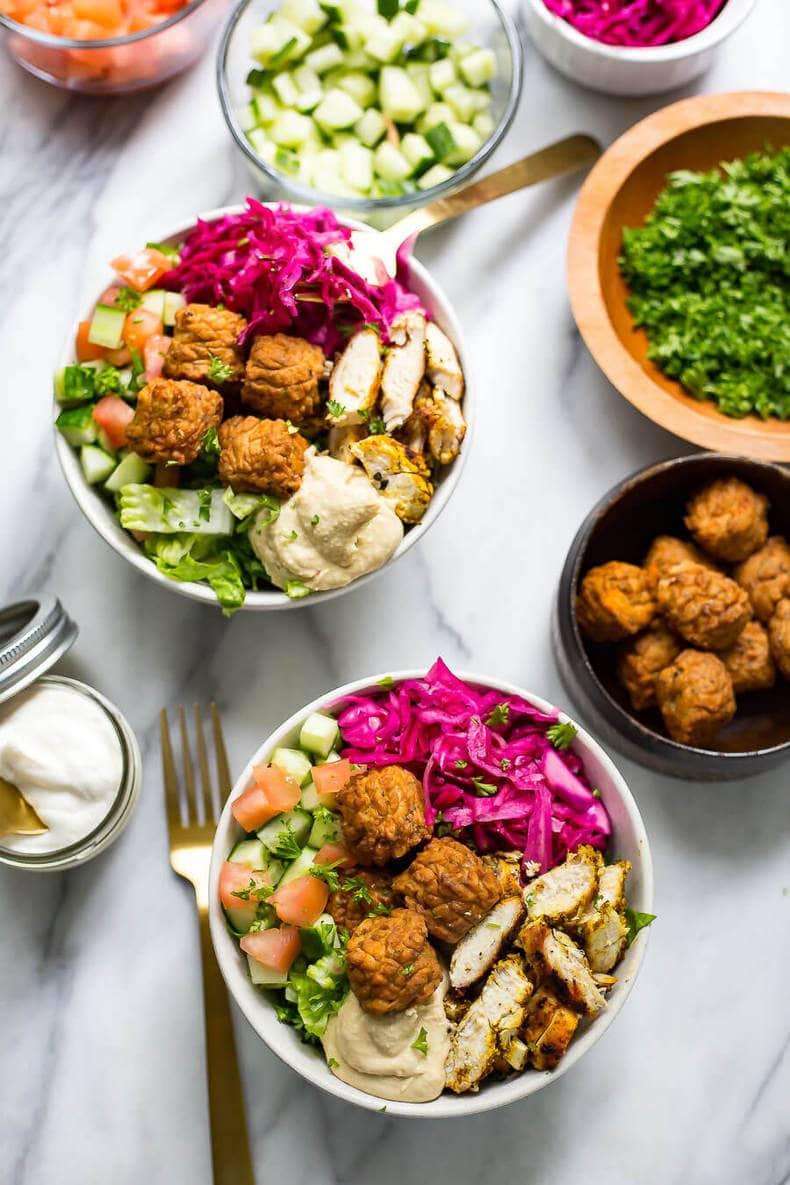 Fun & Easy Chicken Falafel Buddha Bowls