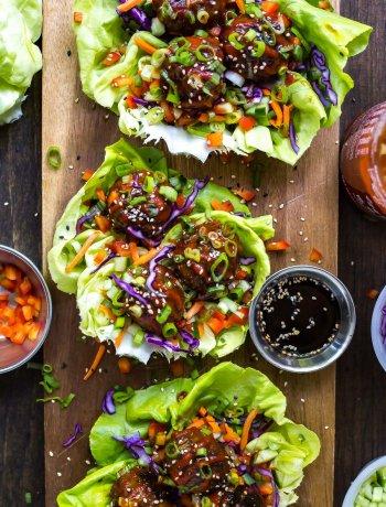 Sticky Sriracha Meatball Lettuce Wraps
