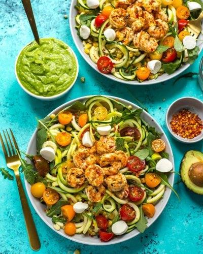 Caprese Shrimp Zoodle Bowls with Avocado Sauce