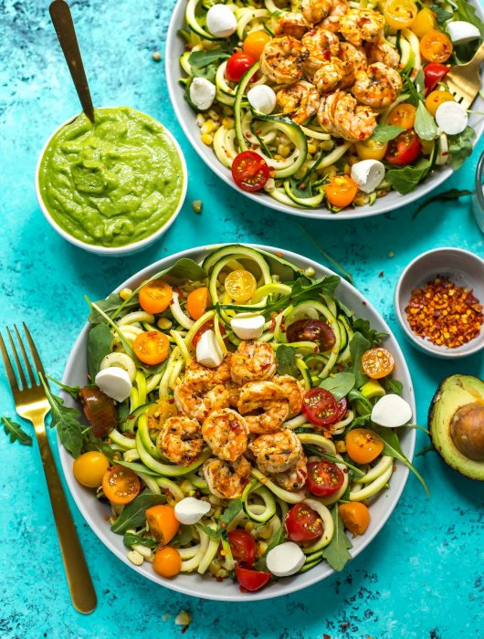 Caprese Shrimp Zoodle Bowls with Avocado Sauce