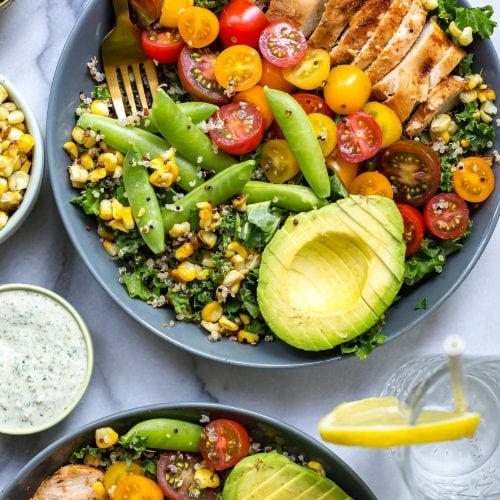 Chicken Ranch Kale & Quinoa Bowls