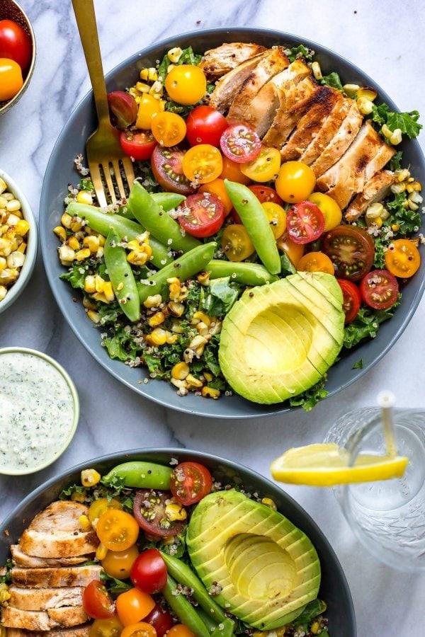 Chicken Ranch Kale & Quinoa Bowls