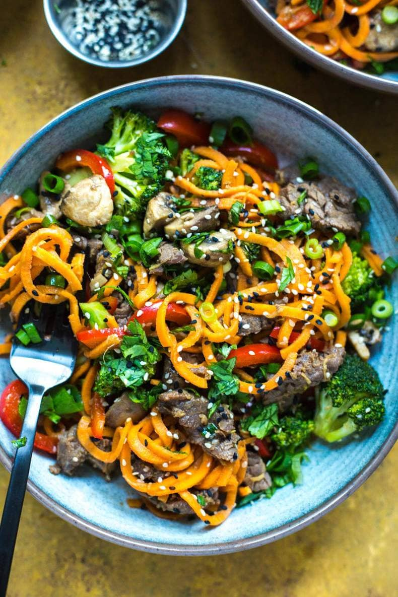 Ginger Beef Sweet Potato Noodles