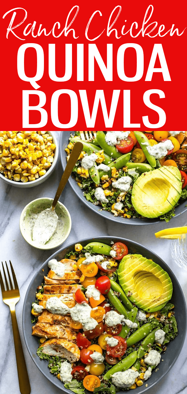 These Chicken Ranch Kale & Quinoa Bowls are delicious and gluten-free - the low calorie homemade ranch dressing is super easy too! #ranchchicken #quinoabowl