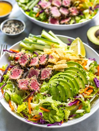 Sashimi Tuna Salad with Carrot Ginger Dressing