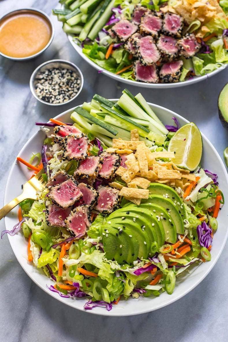 Sashimi Tuna Salad with Carrot Ginger Dressing