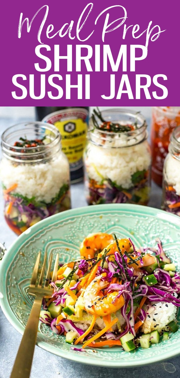 These Dynamite Shrimp Sushi Jars are the perfect grab and go lunch, filled with all the flavours of your favourite sushi roll along with seaweed salad! #shrimp #sushijars #masonjar #mealprep