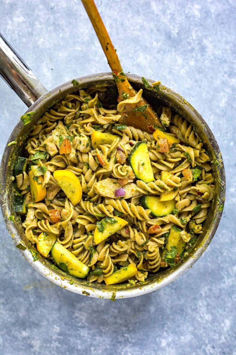 Whole Wheat Summer Pesto Meal Prep Pasta