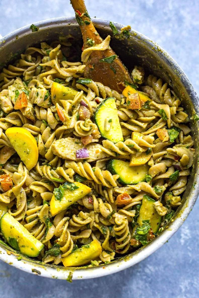 Whole Wheat Summer Pesto Meal Prep Pasta