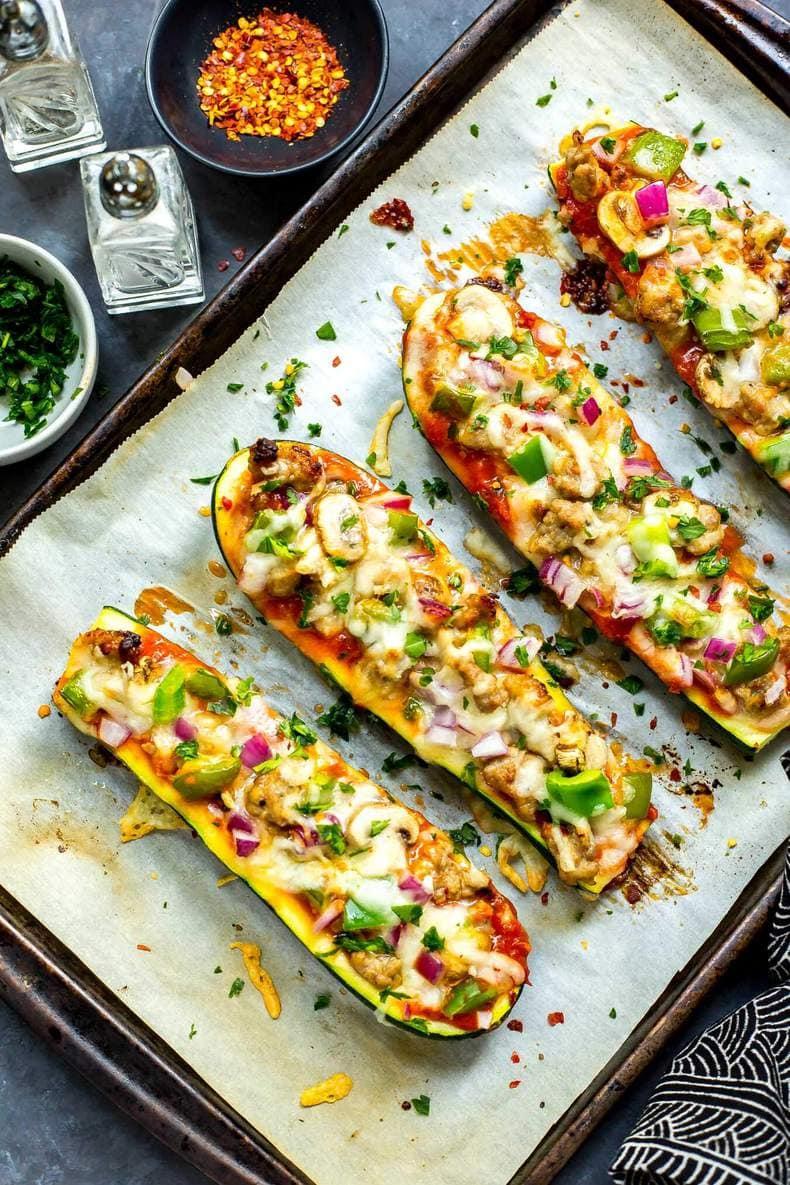 Easy 30-Minute Zucchini Pizza Boats