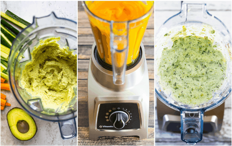 vitamix with different dressings and dips