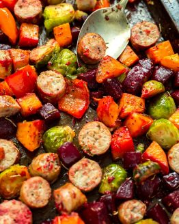 Sheet Pan Sausage & Root Vegetable Scramble