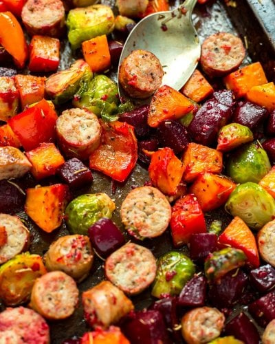 Sheet Pan Sausage & Root Vegetable Scramble