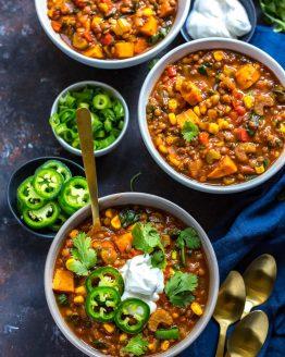 Slow Cooker Sweet Potato Lentil Chili