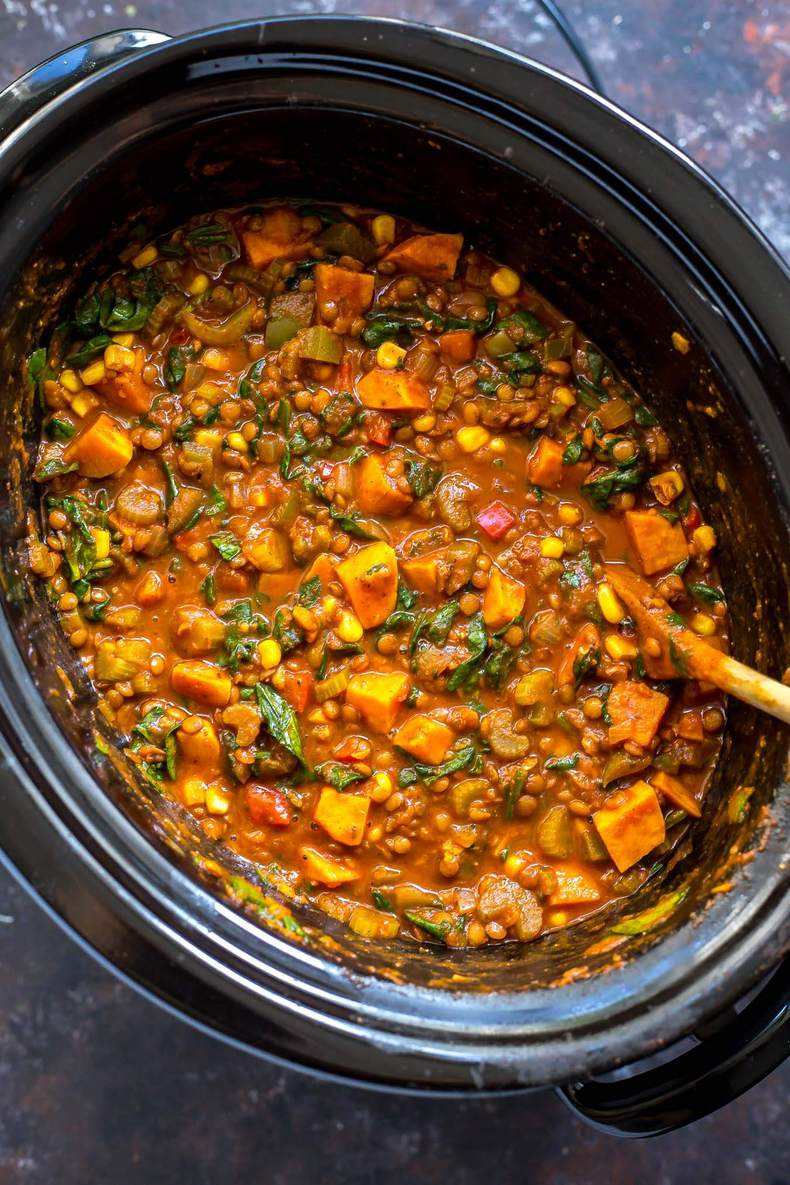 Slow Cooker Sweet Potato Lentil Chili