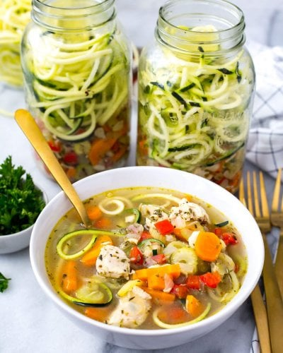 Spiralized Zucchini Chicken Noodle Soup Jars