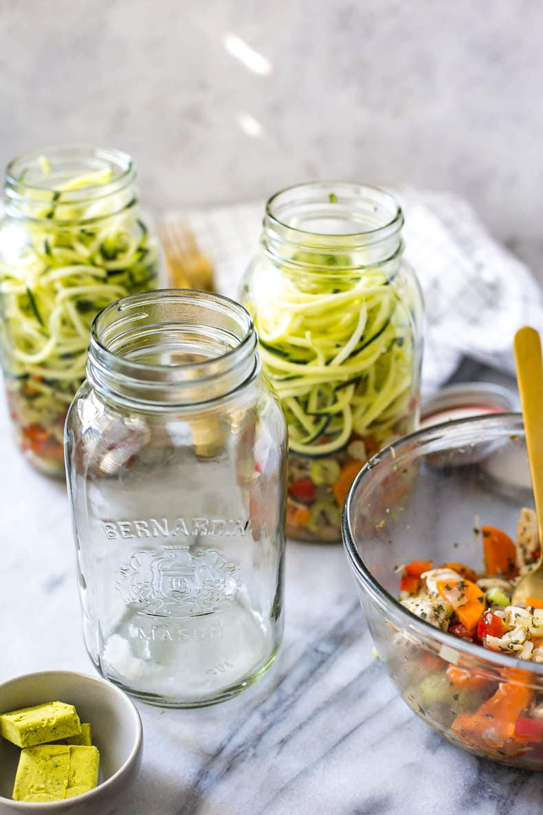 Spiralized Zucchini Chicken Noodle Soup Jars