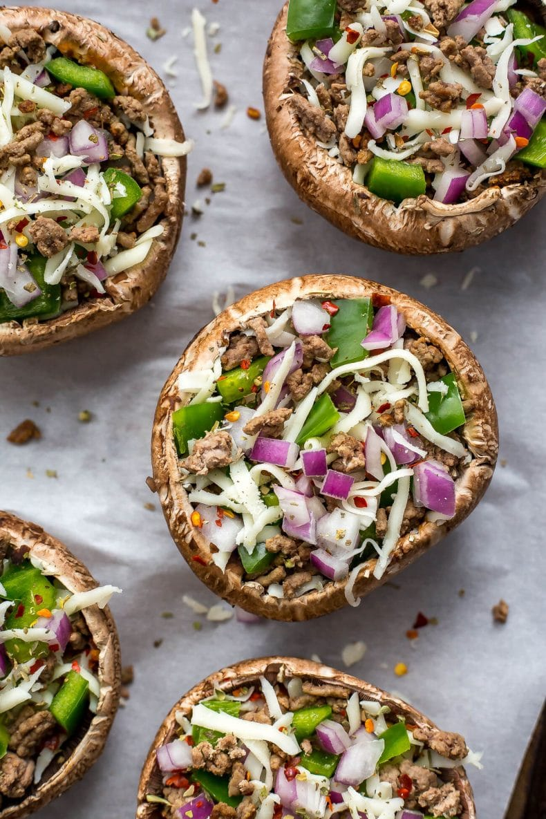 Easy Pizza Stuffed Portobello Mushrooms