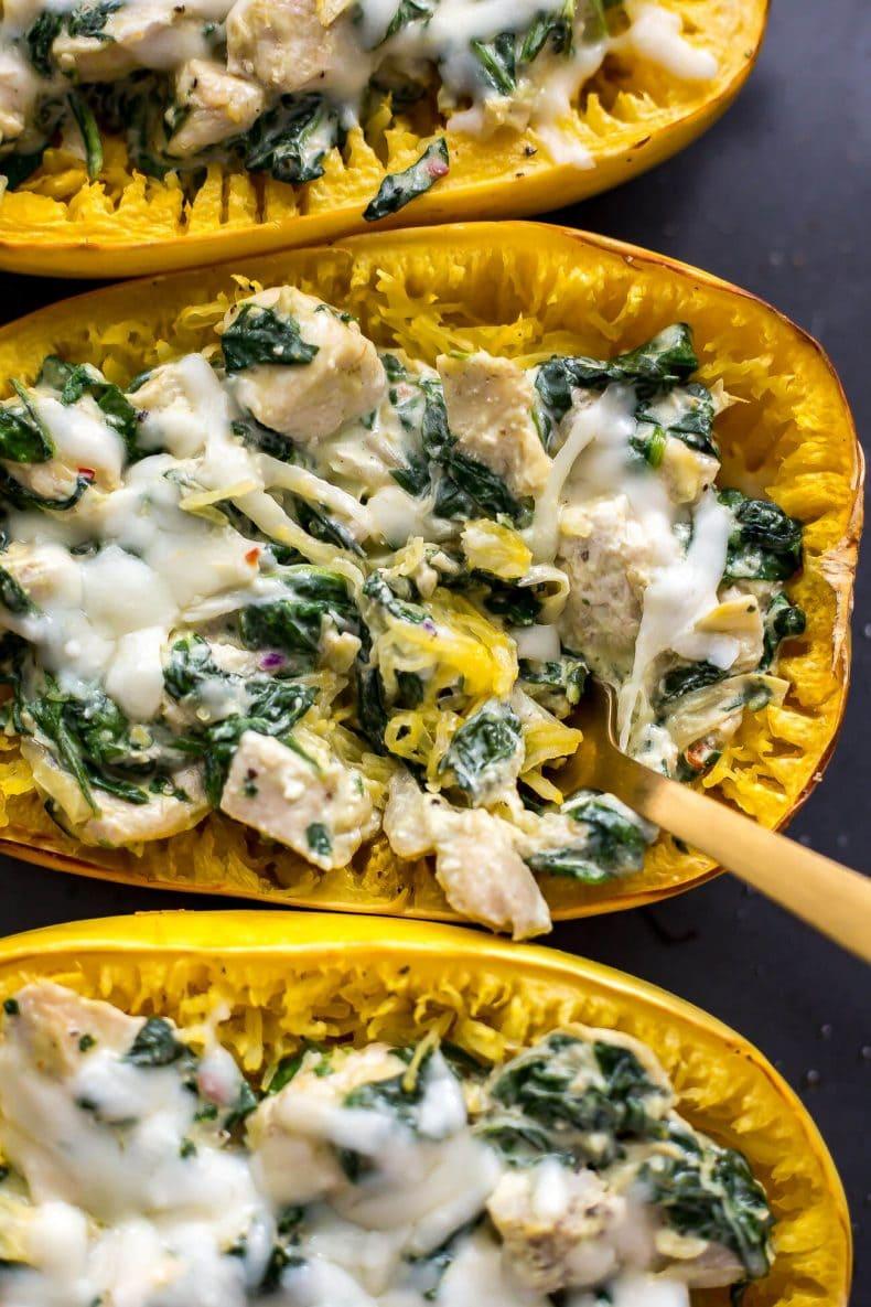 Chicken, Spinach & Artichoke Spaghetti Squash