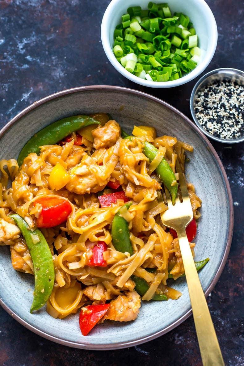 Instant Pot Honey Sesame Chicken Noodle Bowls
