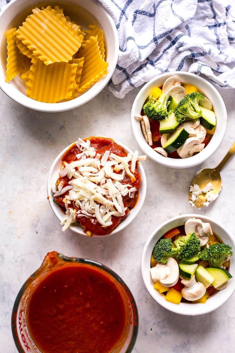 Super Easy Mini Vegetable Lasagna Cups