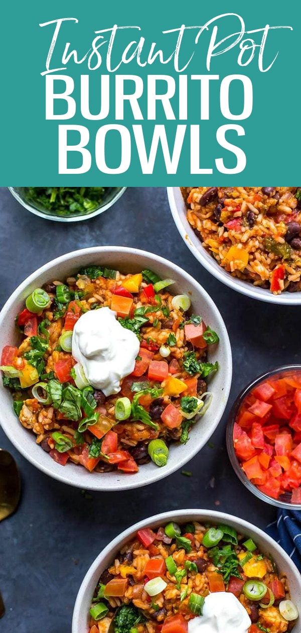 These 20-Minute Instant Pot Chicken Burrito Bowls are a delicious, healthy quick dinner or meal prep idea using mostly pantry staples - read on for a slow cooker option! #instantpot #burritobowls