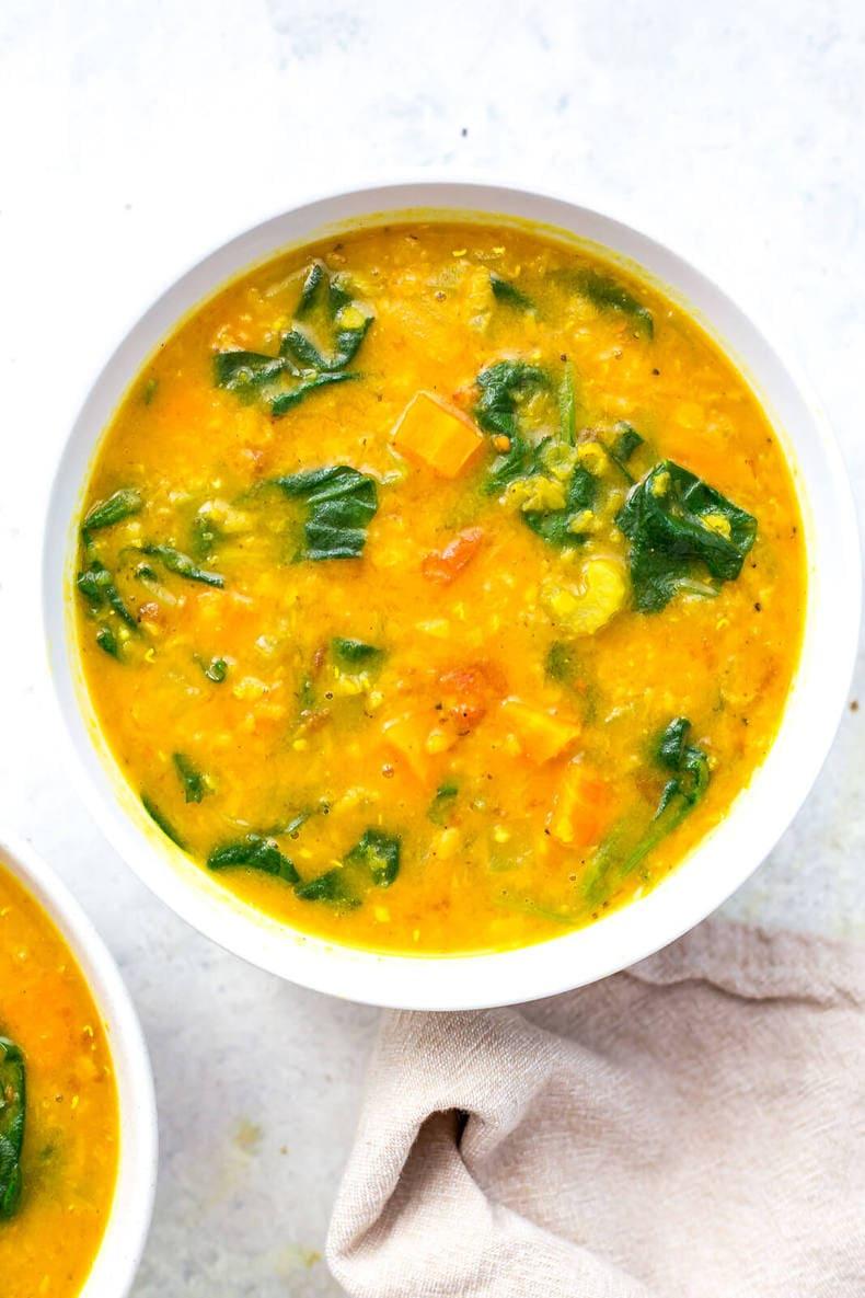 Instant Pot Golden Turmeric Lentil Soup