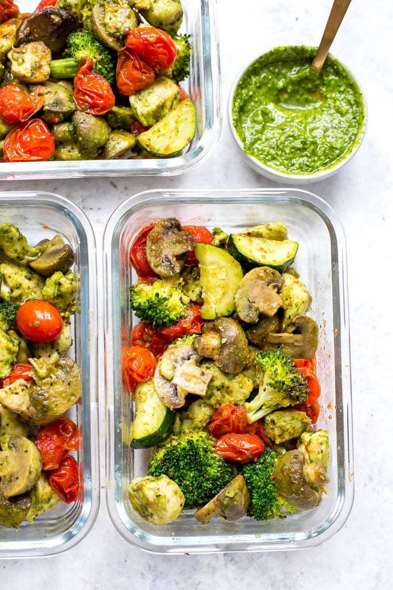 Sheet Pan Pesto Chicken Meal Prep Bowls
