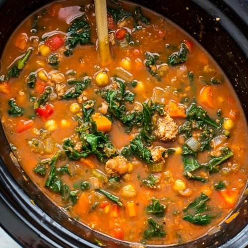 Slow Cooker Tuscan Sausage and Kale Soup