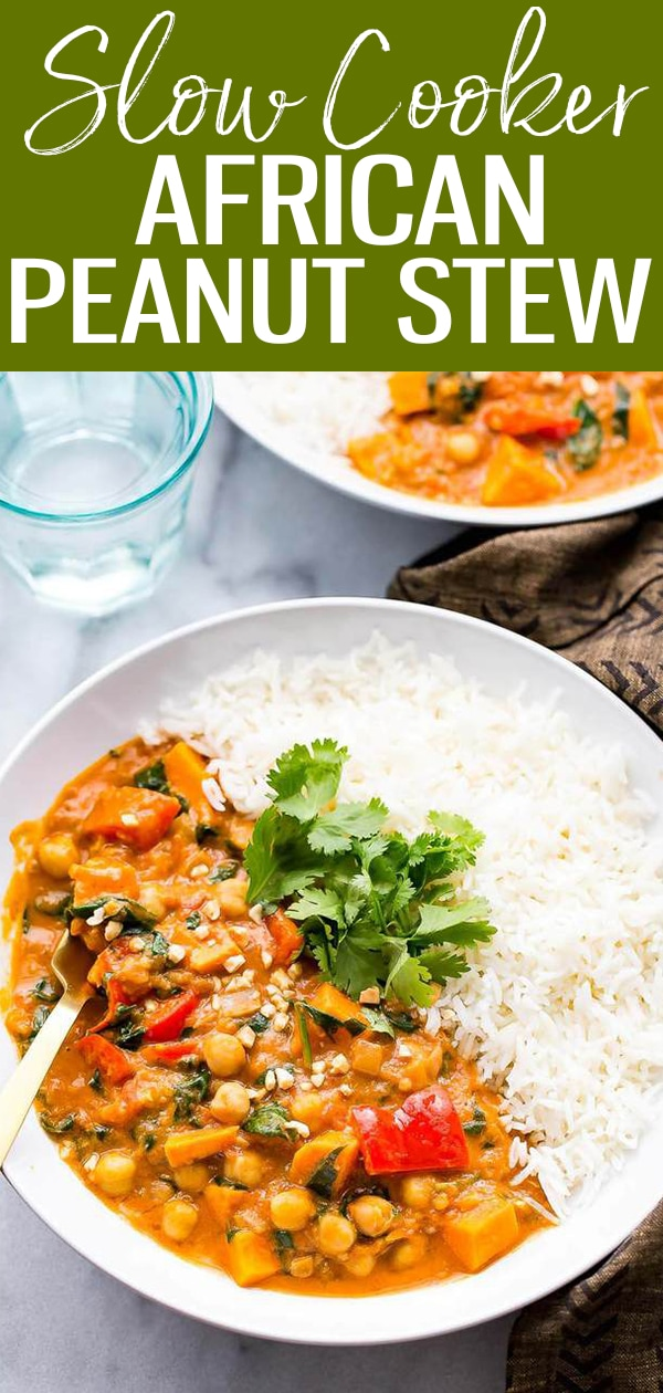 This Slow Cooker African-Inspired Peanut Stew is a hearty, savoury chickpea and sweet potato curry, served with basmati rice and topped with cilantro. It's also gluten-free and vegan! #slowcooker #peanutstew