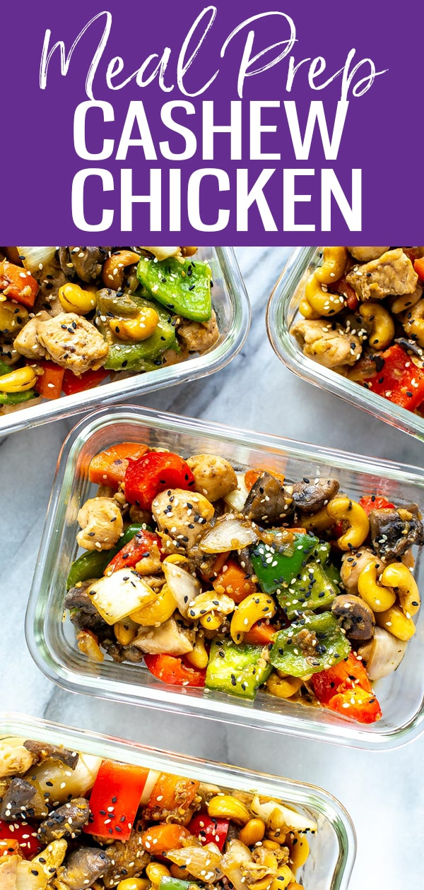 This Cashew Chicken Stir Fry is better than takeout, and the perfect meal prep idea. You probably already have all the sauce ingredients on hand at home too! #cashewchicken #stirfry