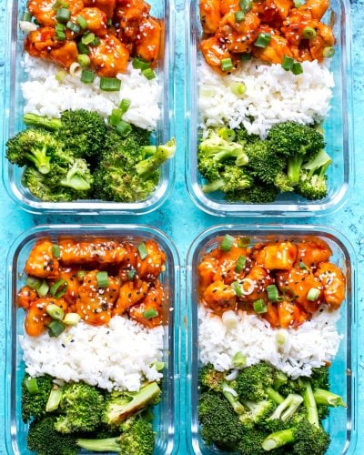 Honey Sriracha Chicken Meal Prep Bowls