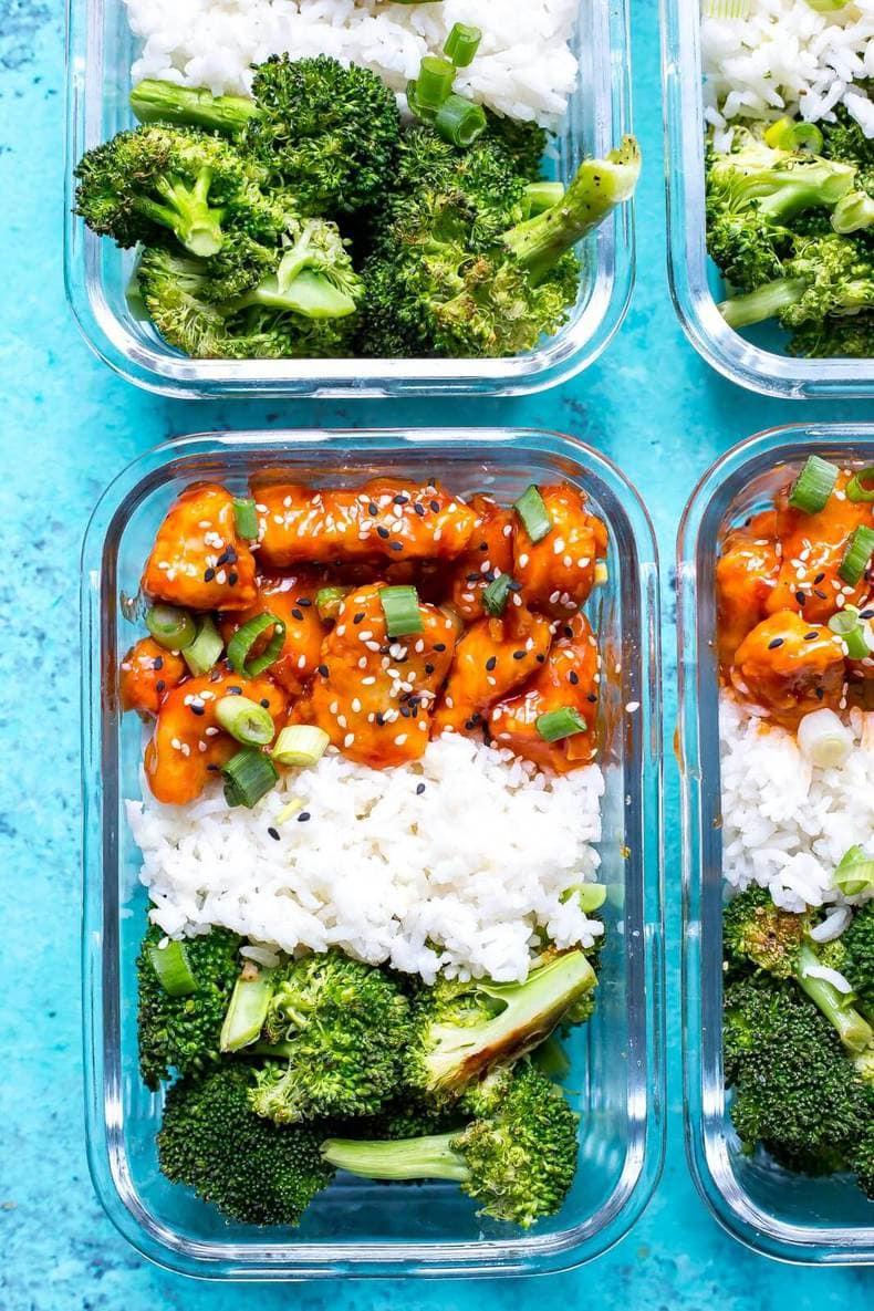 Honey Sriracha Chicken Meal Prep Bowls